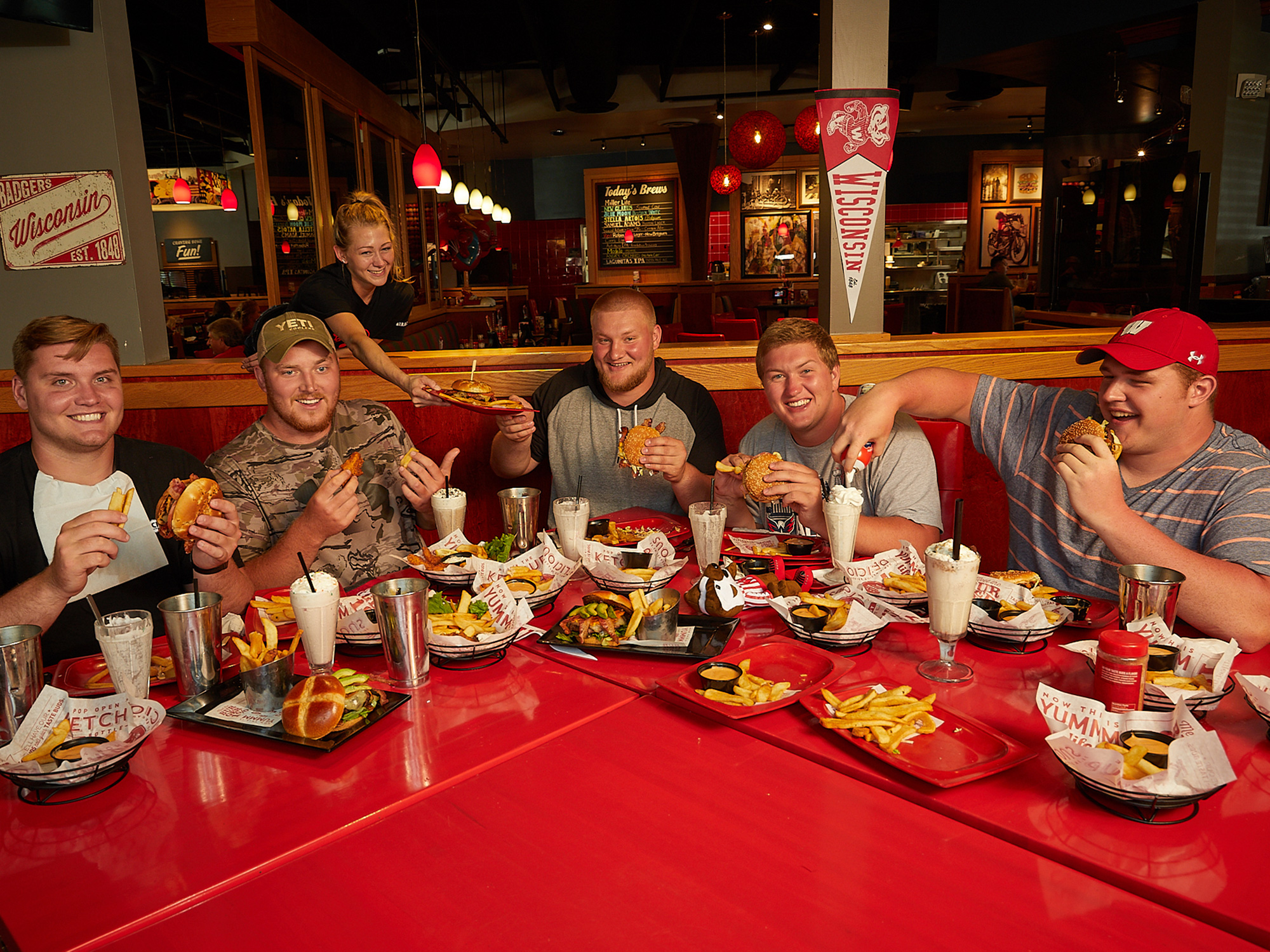 <p>It takes 15 orders of french fries and a total of roughly 19,052 calories to sate the 1,582 pounds of Badger brawn at this Madison-area Red Robin. Edwards, Benzschawel, Biadasz, Deiter and Dietzen have combined for 130 career starts.</p>