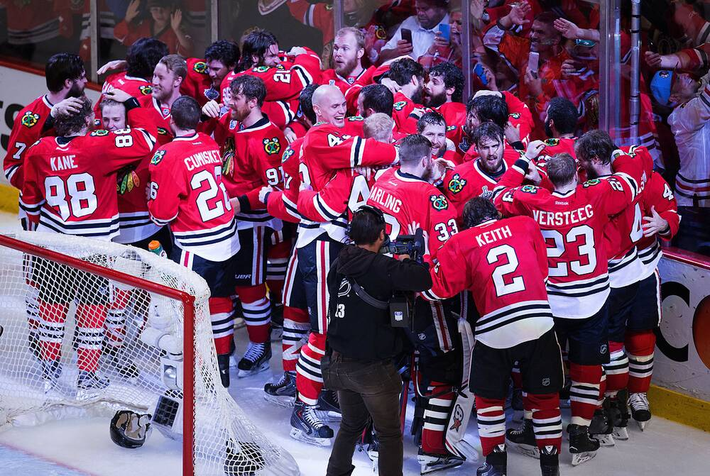 8ac7641b The Chicago Blackhawks celebrate after defeating the Tampa Bay Lightning  2-0 in Game 6