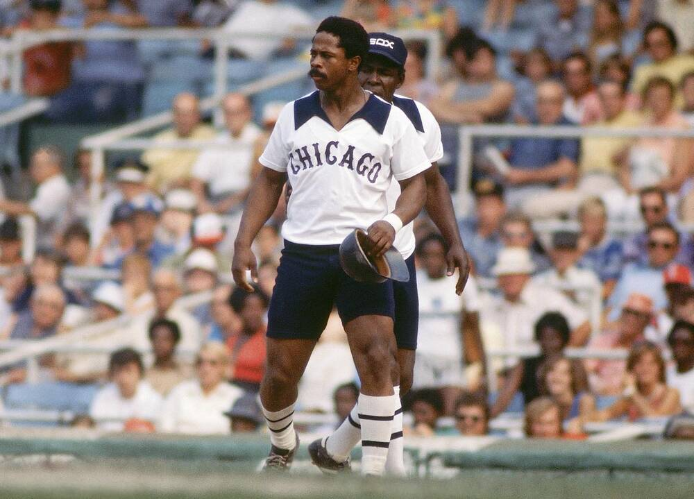 9a5e1b9bf2c White Sox outfielder Ralph Garr models the shorts worn by the team for  three games during