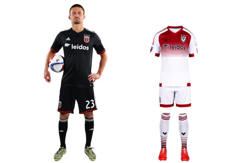 "D.C. United calls itself the ""Black and Red,"" but its uniform palette typically has ignored the latter. That's been rectified with the club's new secondary kit, which features a welcome splash of red on the traditional white jersey. The home uniform, which carries over from 2014, still looks unfinished without the white chest stripes that were dropped in 2008. If D.C. could find a way to re-introduce them, perhaps above the sponsor logo and behind the crest, it once again would boast one of the sport's most distinctive designs."
