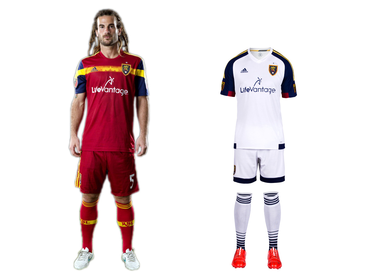 RSL stubbornly refuses to look great. It took a small step forward with its new secondary uniform, which now features two blue sleeves. It's too bad there isn't even more of RSL's beautiful claret, cobalt, and gold color scheme in the kit. The red home set carries over from 2014, making it six seasons since RSL abandoned the claret shirt, cobalt shorts/socks combo it wore when winning its only MLS title. The yellow chest stripe adds a little something extra, but RSL's preference for an all-red kit similar to others around the league instead of a classy, one-of-a-kind look with championship pedigree is baffling.