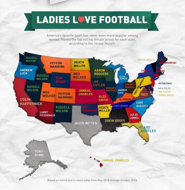 425b4924943 Map shows each state's best-selling NFL jersey among women | SI.com