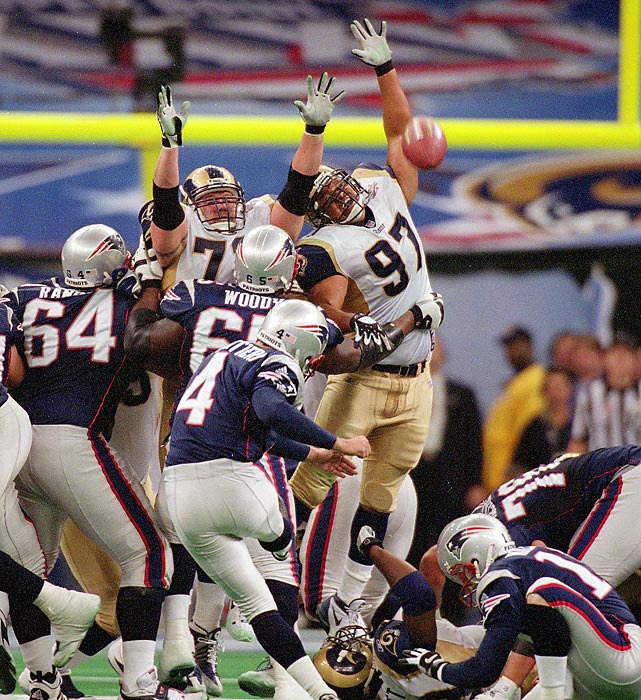 Kicker Adam Vinatieri knocks through a game-winning field as the Patriots stun the St. Louis Rams 20-17. Vinatieri's 48-yarder as time expired came after quarterback Tom Brady led the Patriots down the field with 1:30 left and no timeouts.