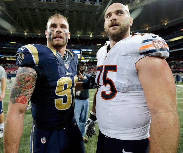 31705aea878 Rams defensive end Chris Long and Chicago Bears right guard Kyle Long ?  both the sons