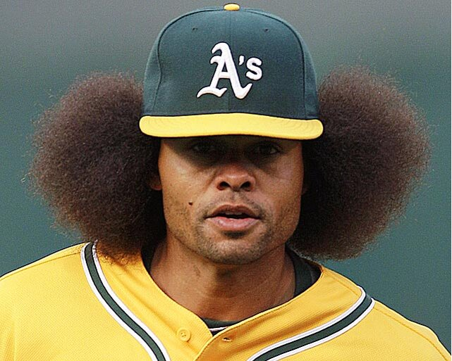 Coco Crisp Couldnt Get All Of His Afro Under Hat During A Game