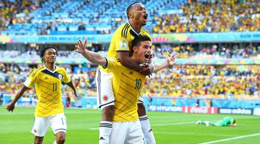 5ffcbb165 Colombia star midfielder James Rodriguez (10) celebrates after icing Los  Cafeteros  3-