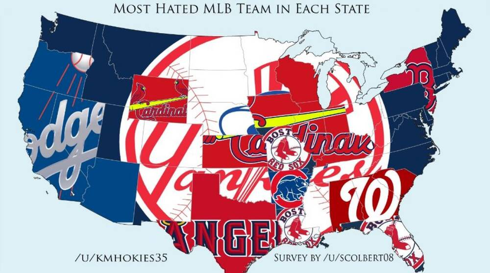 Map shows each state\'s most hated MLB team | SI.com