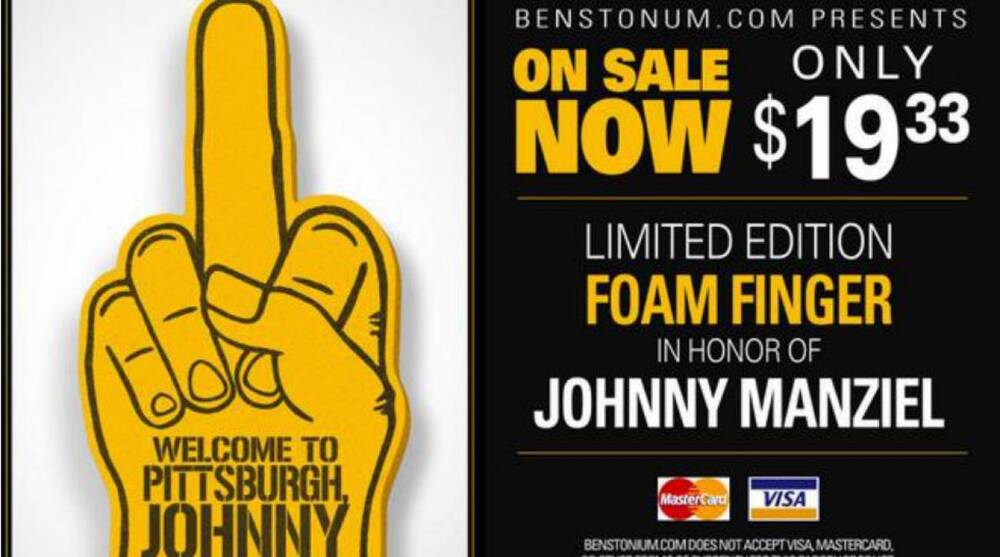 b42d3a22ac7 Pittsburgh Steelers fans have a foam finger response for Johnny Manziel
