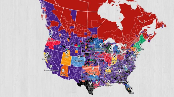 Twitter fan map shows lakers are nbas most national team si a new interactive twitter nba fan map shows the favorite nba team of every county in the united states and every regional district in canada sciox Gallery