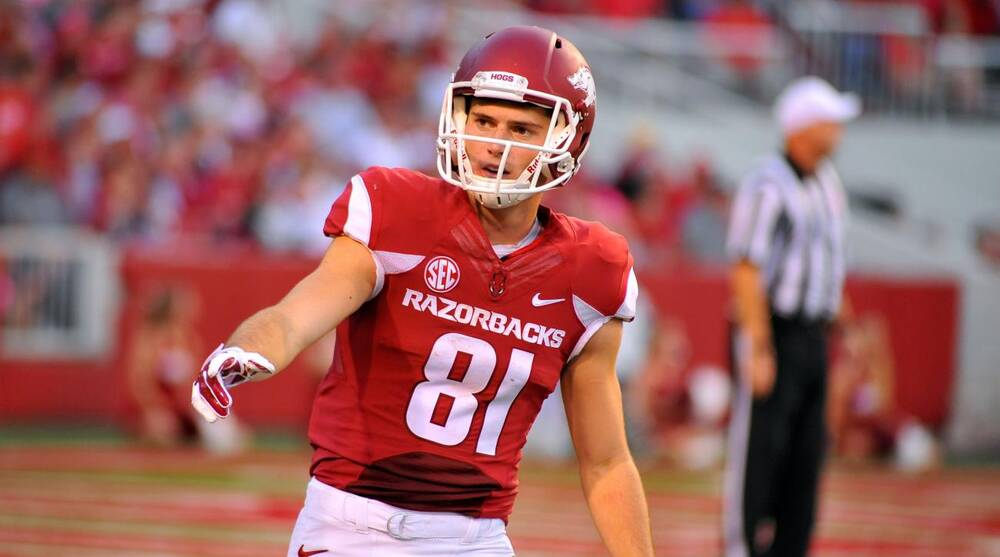 the latest 3a098 ef503 Arkansas football: WR Cody Hollister out with broken foot ...