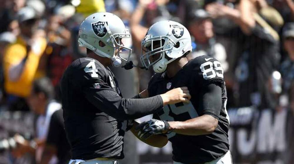Oakland Raiders quarterback Derek Carr and wideout Amari Cooper. 721cdf2ee