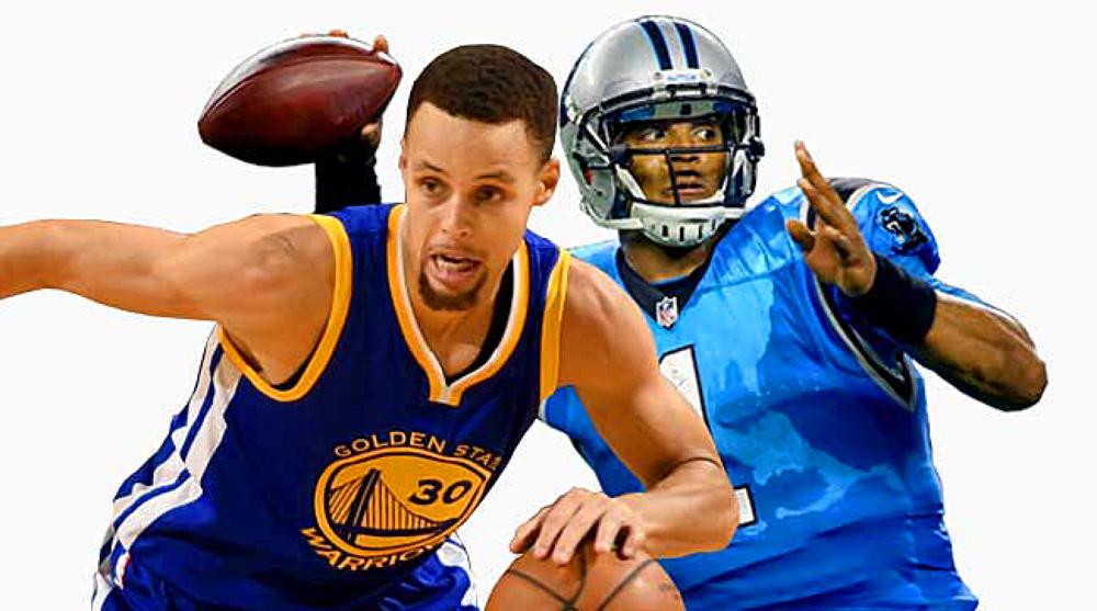 4ba16fabd26f Golden State Warriors guard Stephen Curry and Carolina Panthers quarterback  Cam Newton.