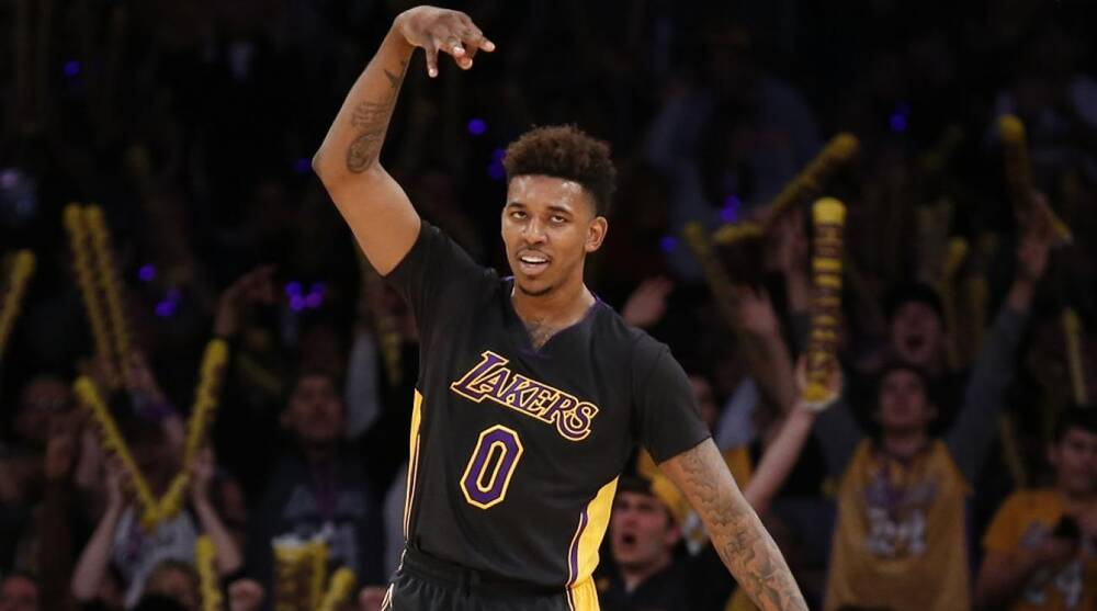 9e81d2ace848a Lakers  Nick Young played in a pair of Kanye West s Yeezy Boosts ...