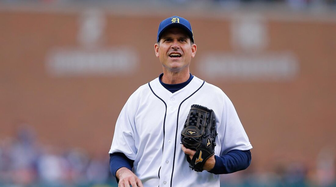 Jim Harbaugh Detroit Tigers Will Let Michigan Coach At First Base