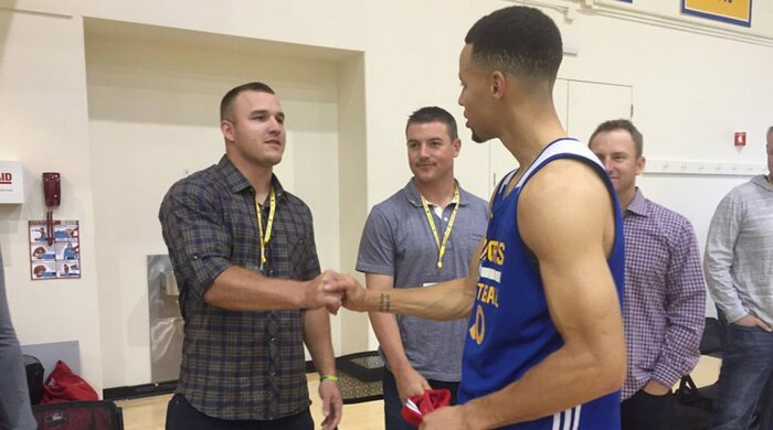 Watch mike trout meets steph curry shoots at warriors practice watch mike trout meets steph curry shoots at warriors practice si m4hsunfo