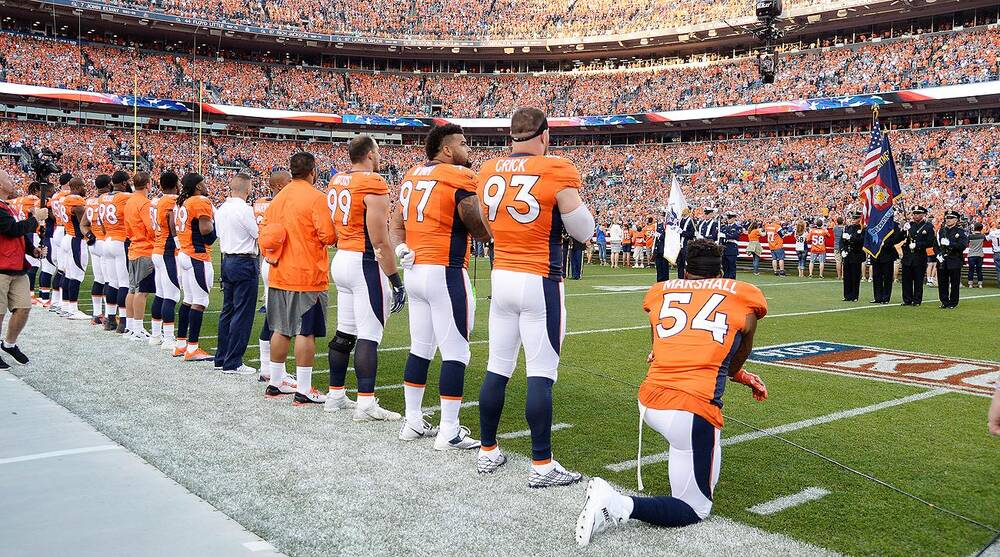 outlet store e3fbf 63ca4 Brandon Marshall takes knee during national anthem | SI.com