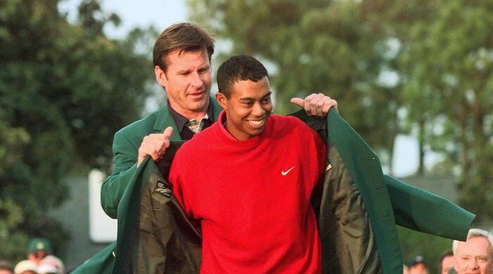 Image result for golfer tiger woods wins the masters for first time in 1997