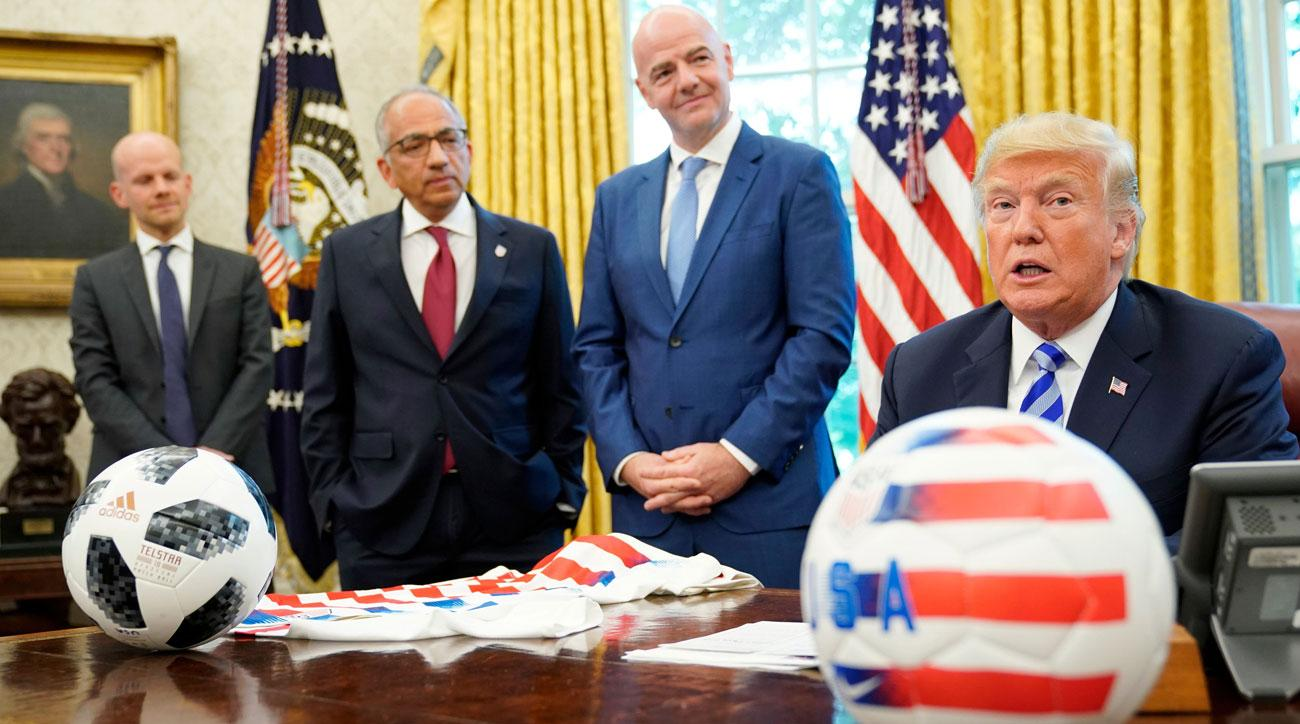 FIFA president Gianni Infantino and US Soccer president Carlos Cordeiro visit the White House