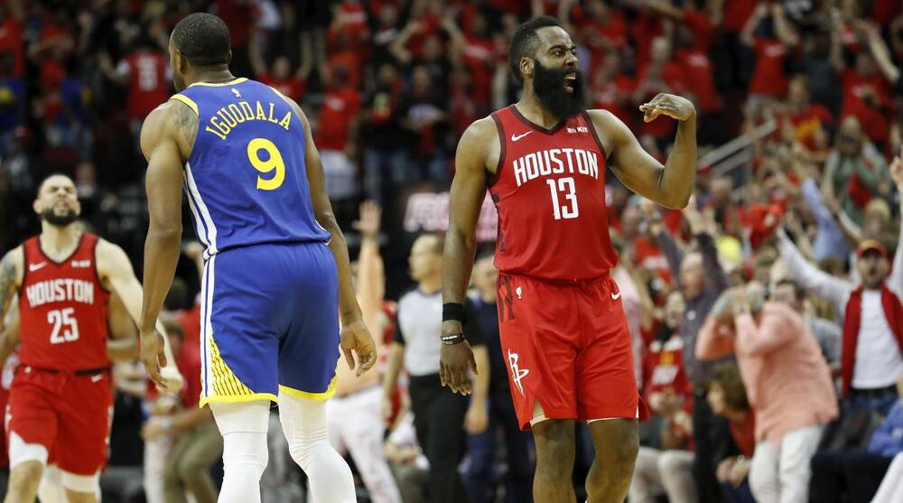 e28413c79278 Rockets vs Warriors  James Harden scores 41 in Game 3 overtime ...