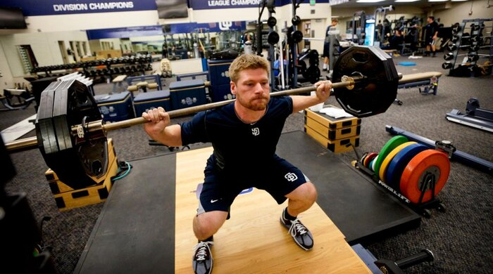 Chase Headley Lifts Weights In The Team Gym At Petco Park San Diego During