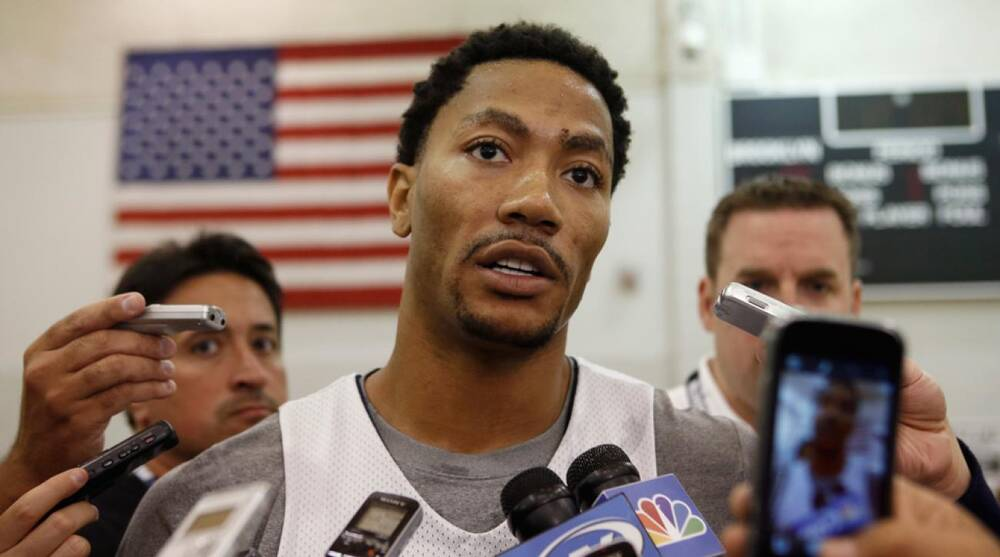 a99c66ef51ee Derrick Rose of the Chicago Bulls speaks to the press after a team practice  at the