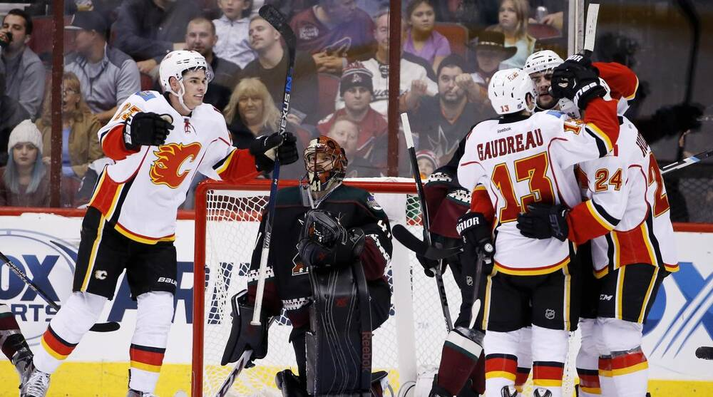 Calgary Flames  Mark Giordano celebrates his goal against Arizona Coyotes   Mike Smith 02fa901f5