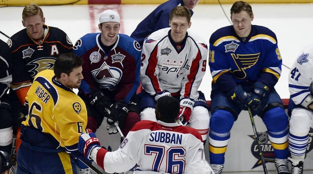 1789e391eb8 Nashville Predators defenseman Shea Weber (6) is congratulated by Montreal  Canadiens defenseman P.K. Subban