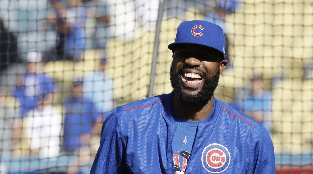 7360822b377 Chicago Cubs  Jason Heyward smiles before Game 3 of the National League  baseball championship series