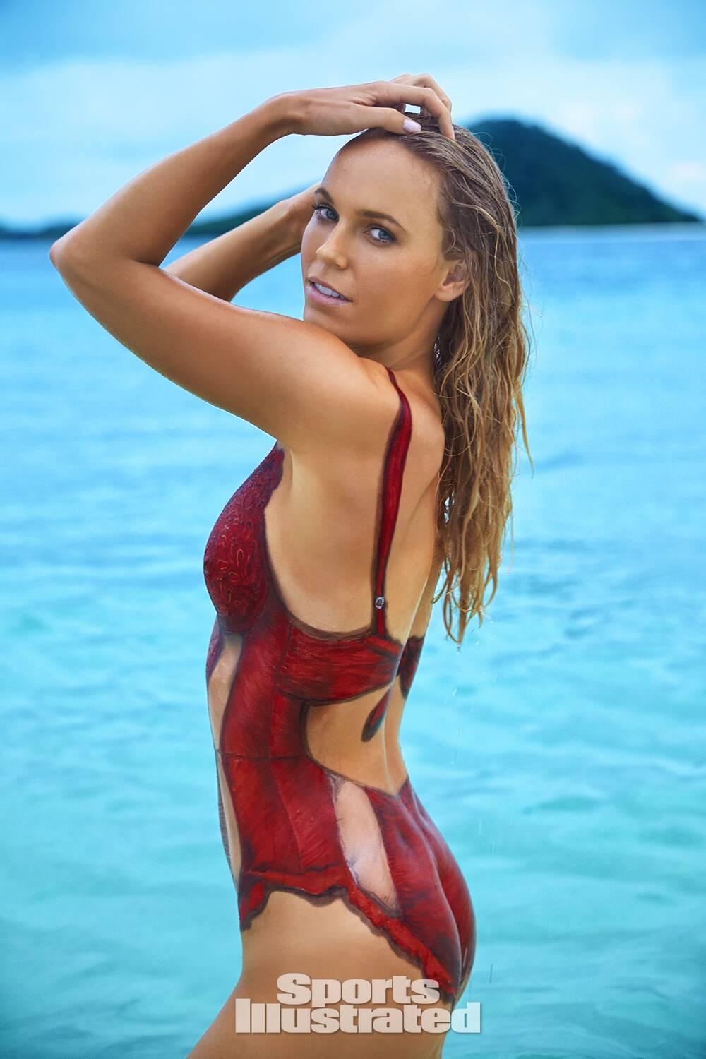 Caroline Wozniacki was photographed by Frederic Pinet in Petit St. Vincent.  Swimsuit inspired by 232d84cdc