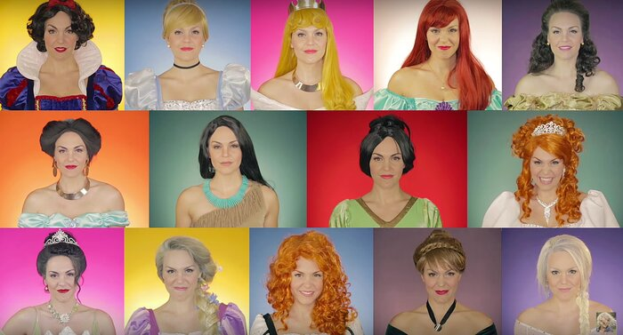 this woman s medley of all the disney princess songs perfectly