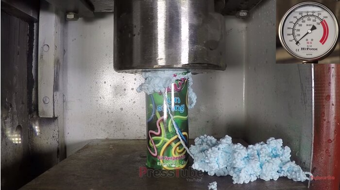 here s what happens when you crush a can of silly string with a