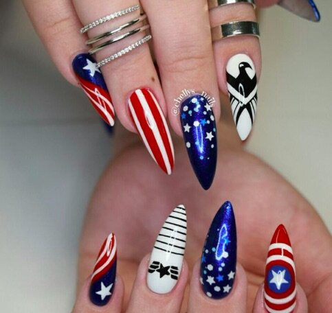 Here's some red, white, and blue nail art for some serious 4th of July  inspo - HelloGiggles - Here's Some Red, White, And Blue Nail Art For Some Serious 4th Of