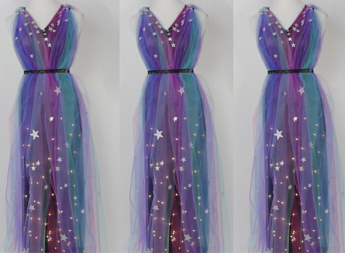 Get your ethereal glam on with this diy light up galaxy dress get your ethereal glam on with this diy light up galaxy dress hellogiggles solutioingenieria Gallery