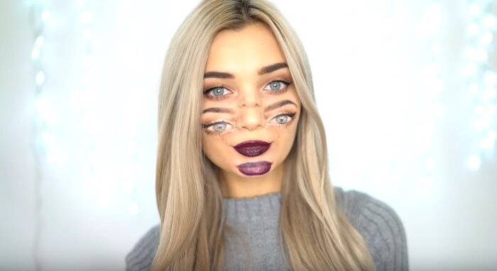 how to do double vision makeup for halloween so you can freak people out with your two sets of eyes hellogiggles