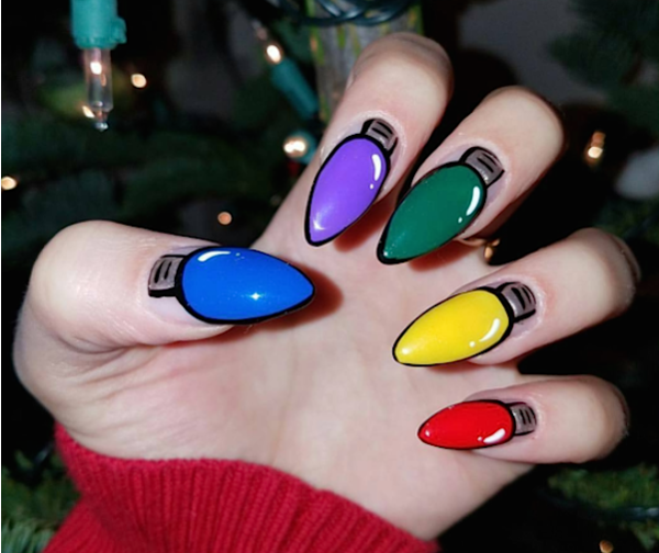 A Nail Artist Seriously Sleighed This Colorful Christmas Lights