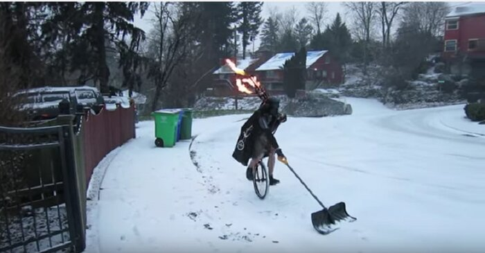 This Video Of A Dinosaur Shoveling Snow Will Make Your Winter Dreams Come True