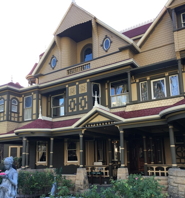 The Front Of Winchester Mystery House In San Jose California
