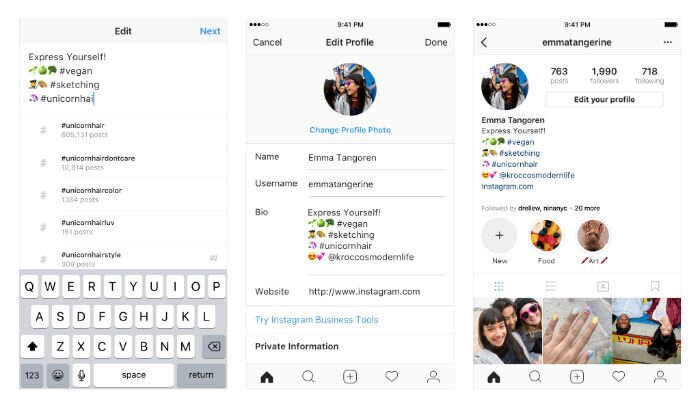 How to add live hashtags and profile links to your instagram bio instagram ccuart Choice Image