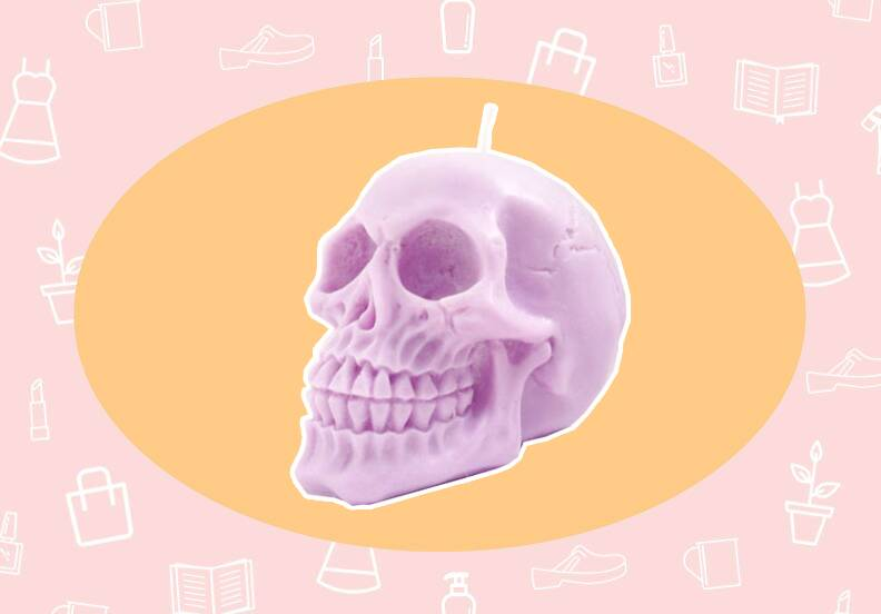 want need a pastel skull candle to make your halloween extra cute