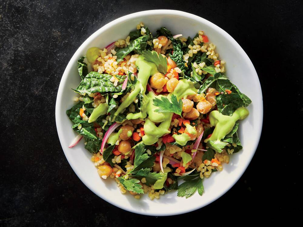 50 healthy vegan recipes cooking light kale and chickpea grain bowl with avocado dressing forumfinder Images