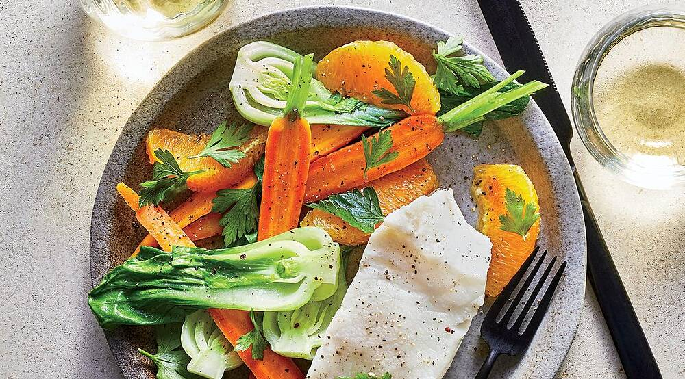 Cooking light recipes cooking light poached sea bass with gingery veggies forumfinder Image collections