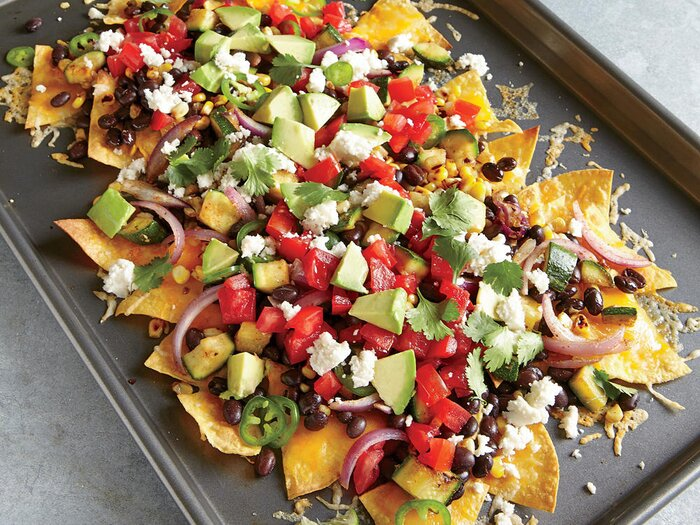 Vegetarian football party recipes cooking light two cheese veggie nachos forumfinder Choice Image