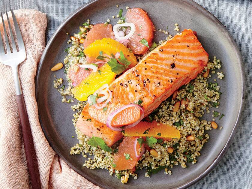Healthy and romantic dinner recipes for two cooking light sauted salmon with citrus salsa forumfinder Images