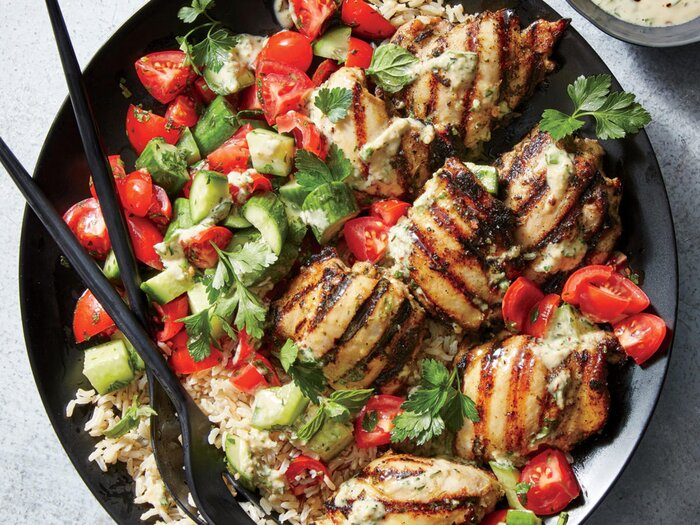 Tahini Marinated Chicken Thighs With Cucumber And Tomato Salad