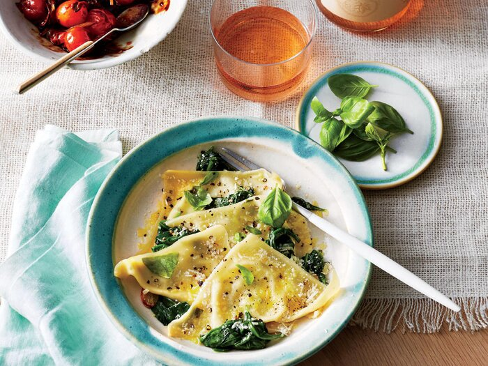 300 calorie vegetarian recipes cooking light basil ricotta ravioli with spinach forumfinder Choice Image