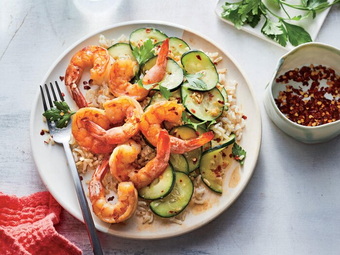 300 calorie asian inspired recipes cooking light sesame shrimp with smashed cucumber salad forumfinder Choice Image