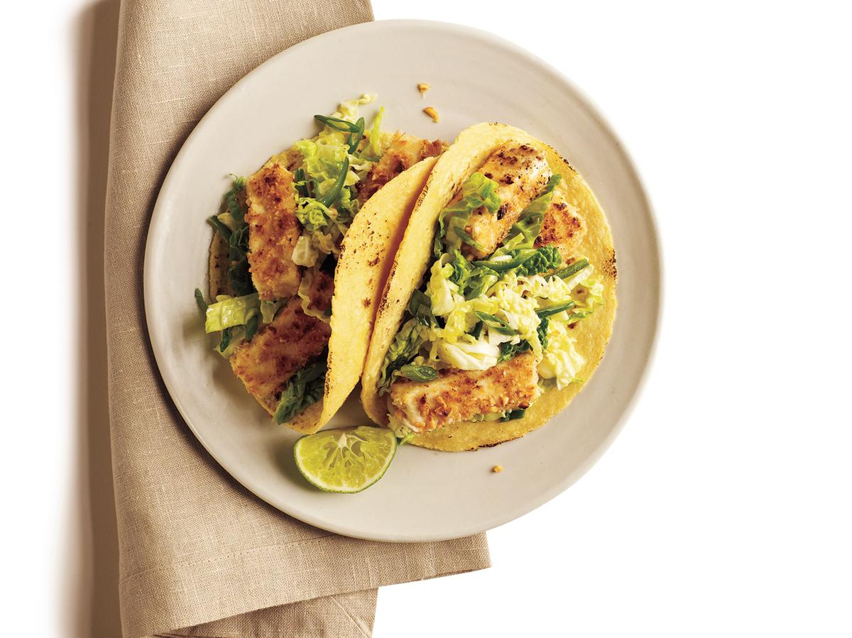 Peanut-Crusted Tofu Tacos with Tangy Slaw
