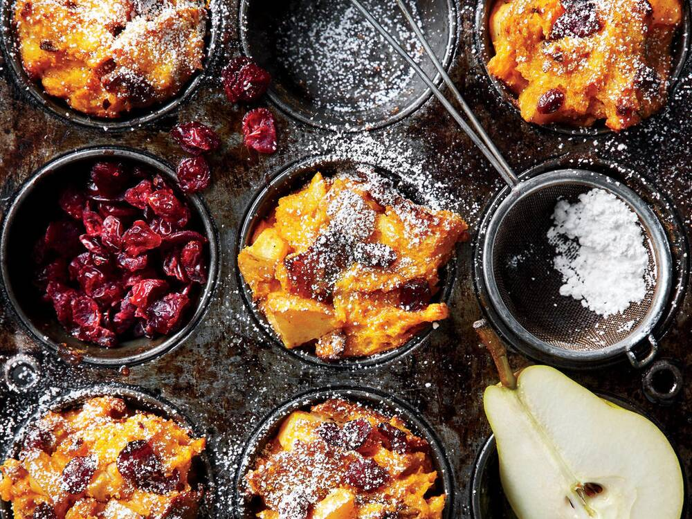 muffin tin pumpkin and pear stratas