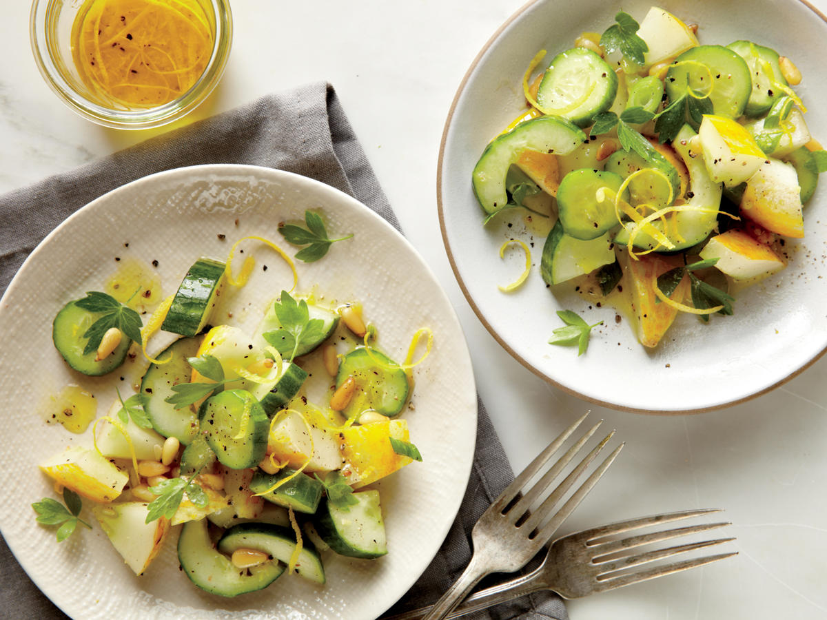 Cucumber and Herb Salad with Pine Nuts