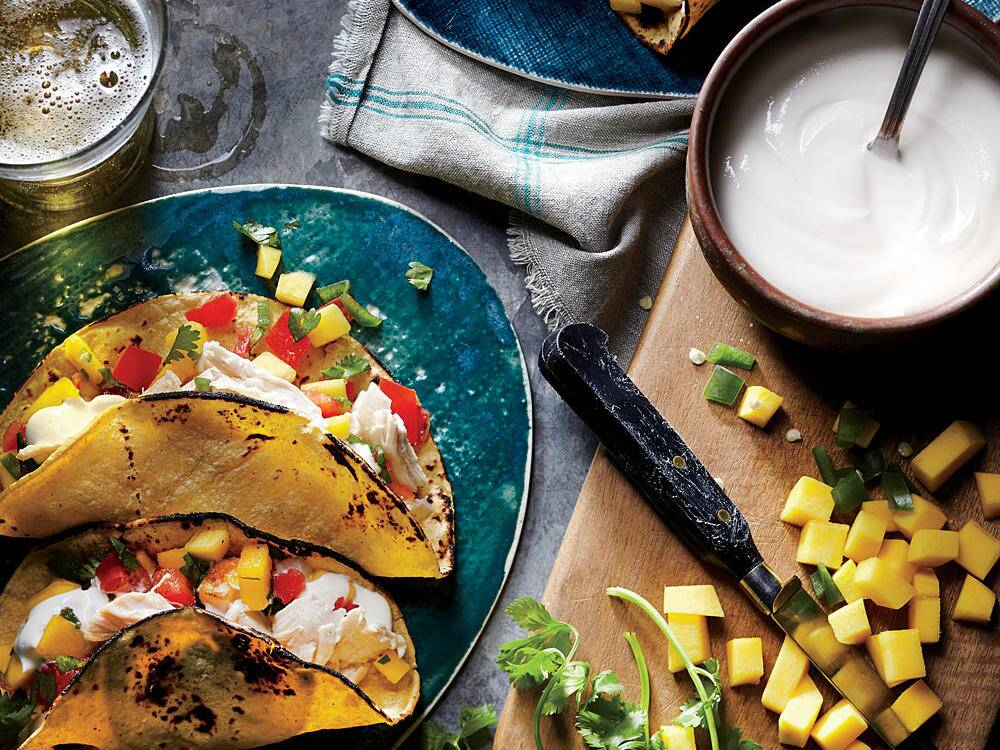 Top 10 best restaurants for clean eating cooking light shredded chicken tacos with mango salsa recipe forumfinder Gallery